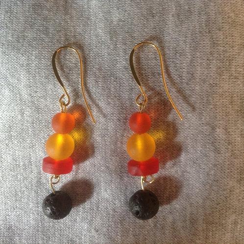 Sea glass volcano earrings