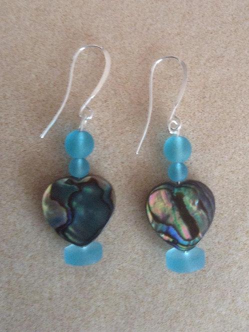 Abalone sea glass heart earrings