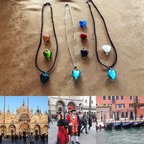 Venetian Murano glass heart necklaces