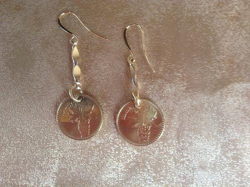 Colombian 100 pesos earrings