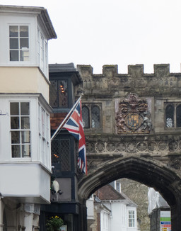 Flag and arch
