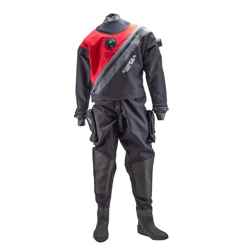 TRILAMINATE DRY SUIT WITH FRONT ZIPPER, BOOTIES AND RINGS