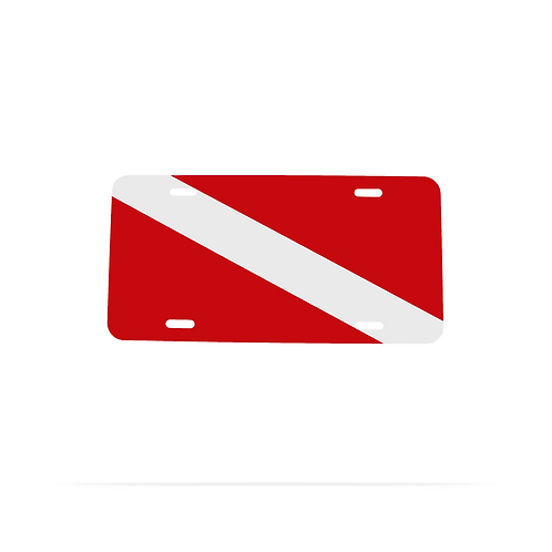 Dive flag design metal license plate