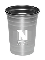 Stainless Steel Cup with NNW WHITE Logo.