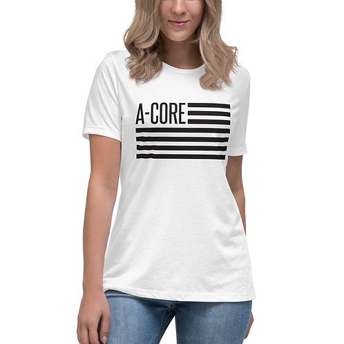 Women's Relaxed T-Shirt with Flag Logo - White