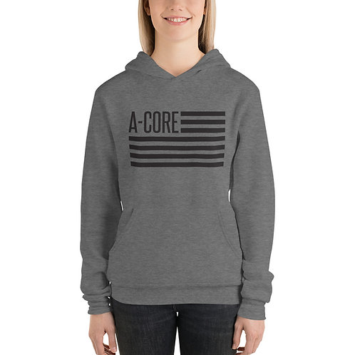 Women's Hoodie with Flag Logo -  Grey and White