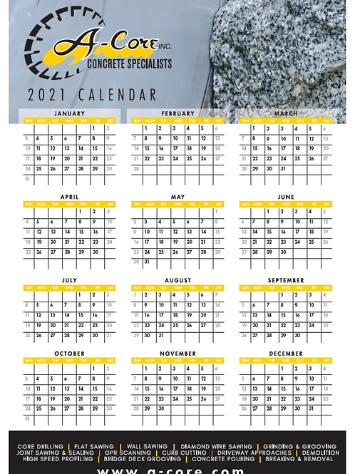 2021 Year at a Glance Poster Calendar