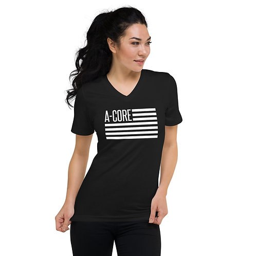 Unisex Short Sleeve V-Neck T-Shirt with Flag Logo - Black