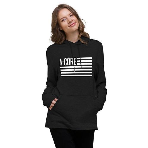 Unisex Lightweight Hoodie with Flag Logo - Black
