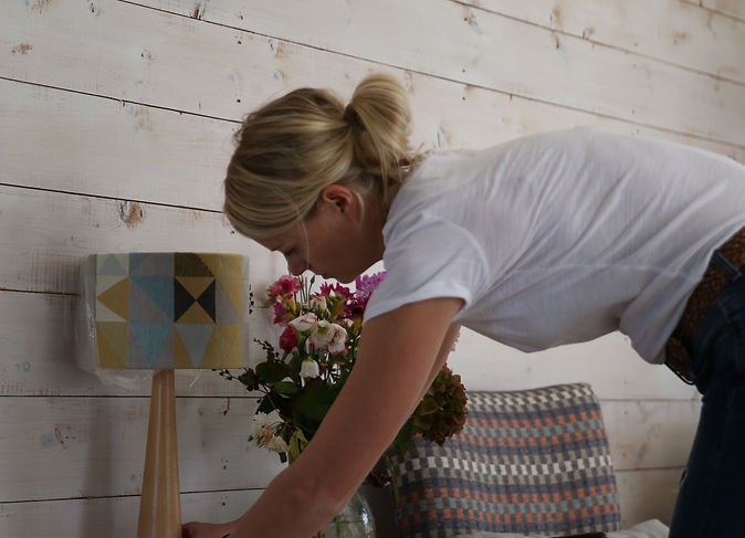 Southwold Geometric Lampshade and Heather Check Cushion