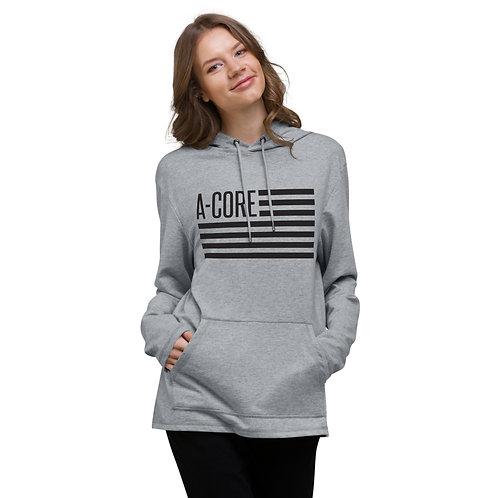 Unisex Lightweight Hoodie with Flag Logo - Grey