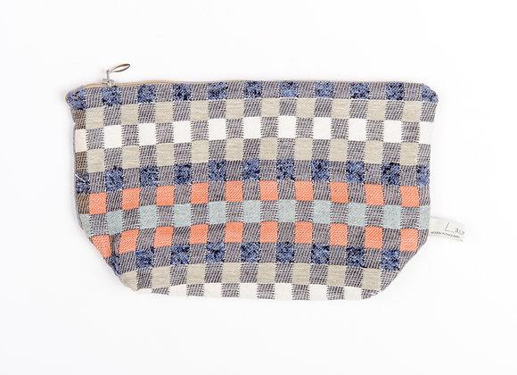 Heather Check Wash Bag - Navy/Paprika