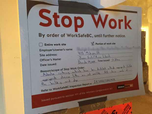 Stop work order Worksafebc