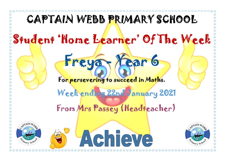 Student home learner of the week Y6 GD.j