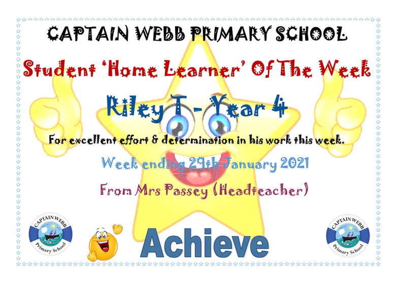 Student home learner of the week Y4 SW.j