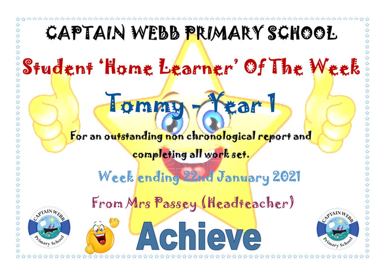 Student home learner of the week Y1 AF.j