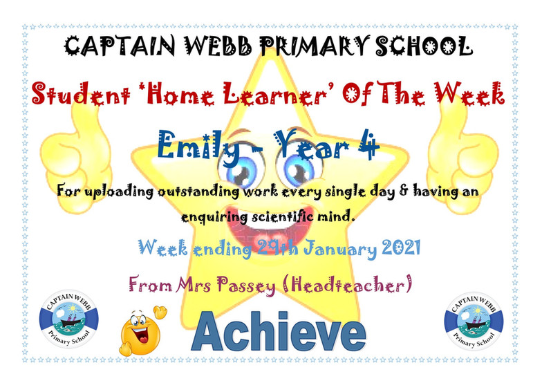 Student home learner of the week Y4 CP.j