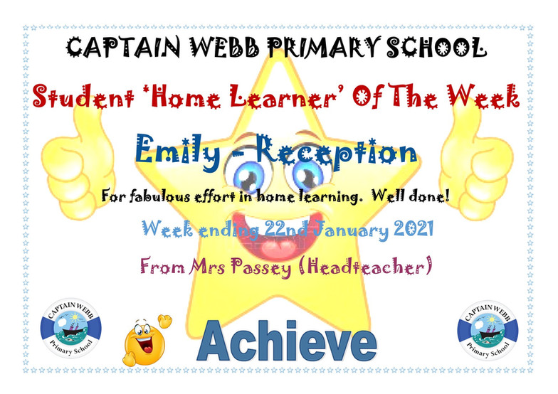 Student home learner of the week Rec SB.