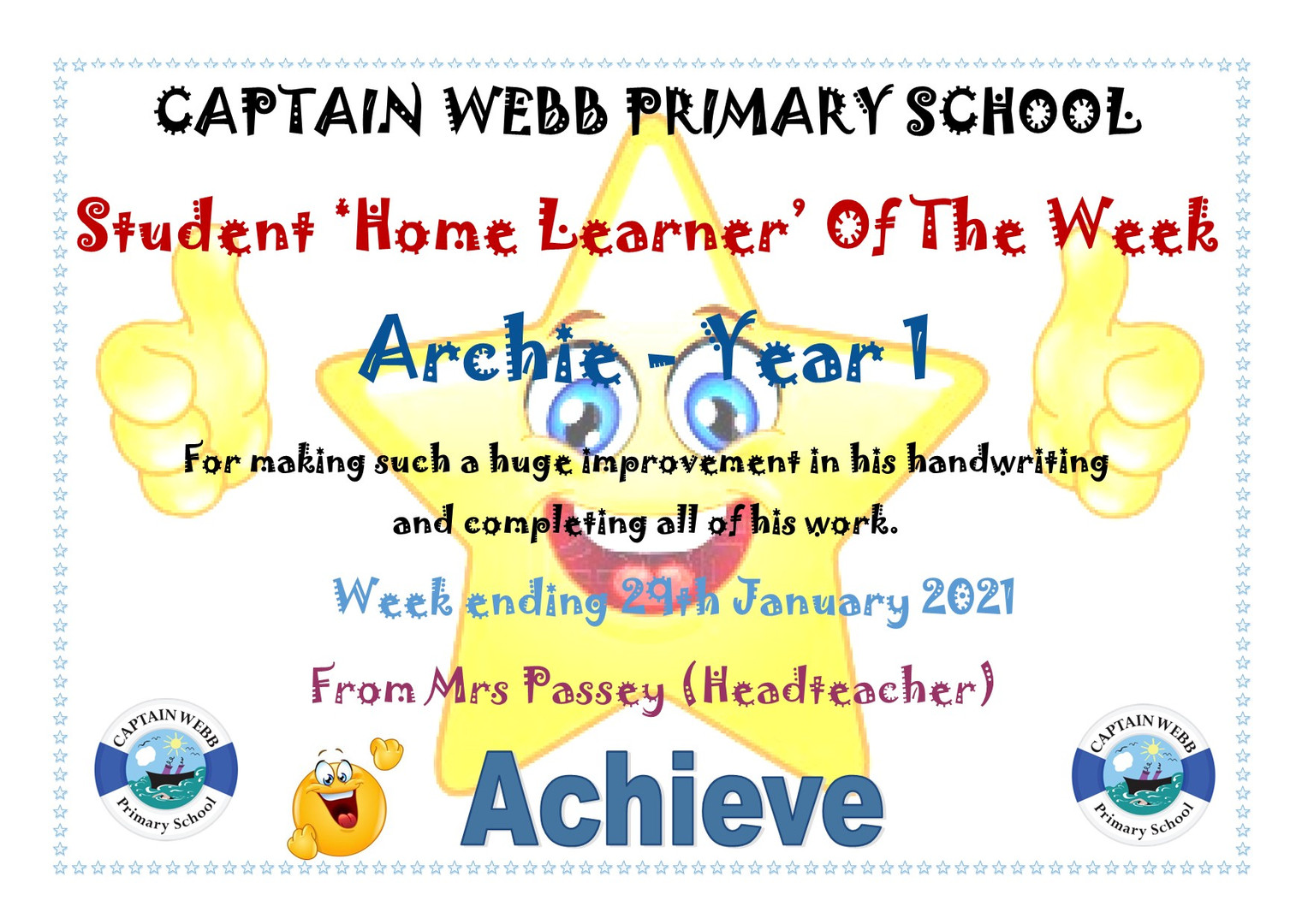 Student home learner of the week AD Y1.j