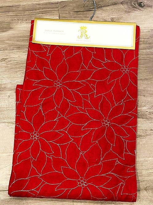 RA Red & Gold Poinsettia Table Runner