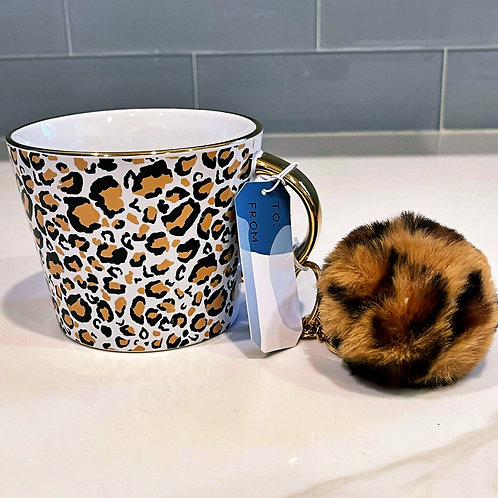 Leopard Mug w/detachable Keychain