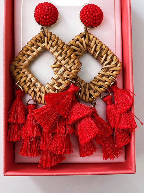 Red Multi Tassel Earrings