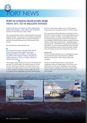 Port of London trade jumps more than 10% to 50 Million Tonnes