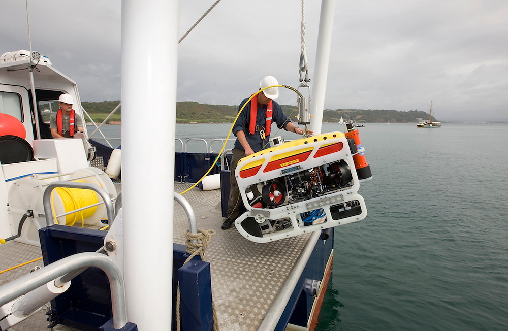 University of Plymouth's Saab Seaeye ROV launched off their vessel RV Falcon Spirit.
