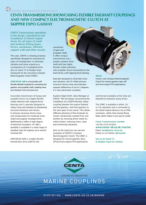 Centa Transmissions Showcasing Flexible Tailshaft Couplings and new Electromagnetic Clutch at Skippe