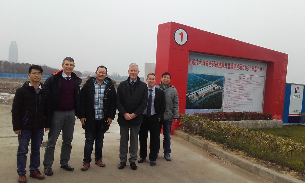 (From left) Chen Tao (SSSRI Engineer), Simon Tiedeman, Equipment Sales Business Manager, Lu Zehua (SSSRI Engineer), Andrew Brown, Business Development Director, James Clarke, Technical Director, and Bao Ballying (A&P Corporation) visited the site of the new SSSRI facility on Changxing Island earlier this year.