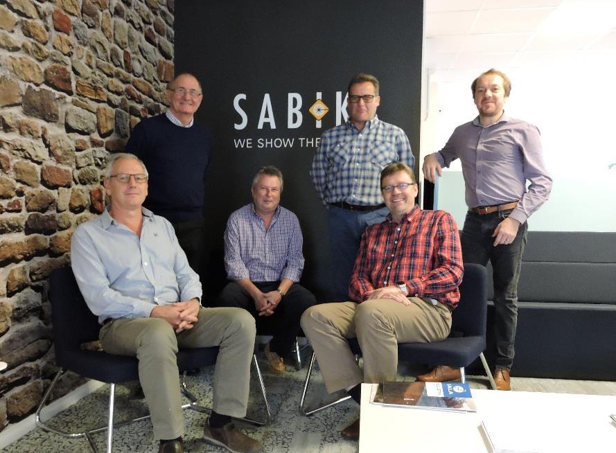 Partner meeting in Sabik Marine premises, Porvoo Finland in October 2017. Persons from the left: Jeff Gibson (Hydrosphere), Alan Tassell (Sabik), Andy Reid (Hydrosphere), John Caskey (Hydrosphere), Lars Mansner (Sabik), Nick Sims (Sabik).