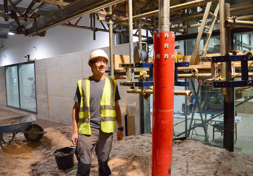 Russell Mayall Oxford University DEng Student in the Fast Flow Facility at HR Wallingford
