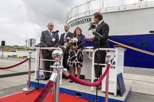 Mr Stephen Blaikie (CEO, Bibby Marine Services), Sir Michael Bibby (Managing Director, Bibby Line Group), Lady Sponsor Mrs Jacky Blaikie (the wife of Mr Stephen Blaikie), Mr Arnout Damen (CCO, Damen Shipyards Group)