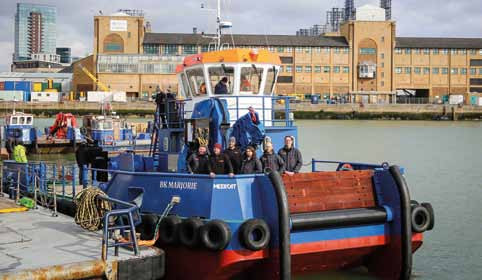 The new twin screw monohull Meercat M18 multi-purpose workboat BK Marjorie, designed and made in Hythe, Hampshire to a high-build quality.
