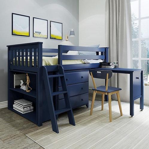 Windsor 2 Low Loft w/ Desk Blue