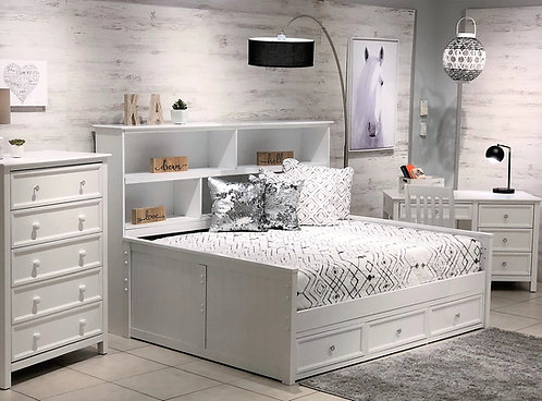 Sideways Bookcase Full Bed w/ Storage White