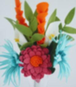 Tropical Bridal Bouquet. Handmade fom felt i Ireland in teal, fuschia and orange