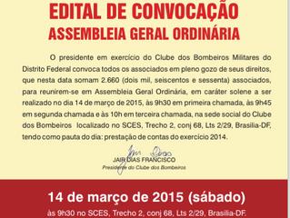 EDITAL DE CONVOCAÇÃO DA ASSEMBLEIA GERAL ORDINÁRIA DO Clube DOS BOMBEIROS MILITARES DO DF