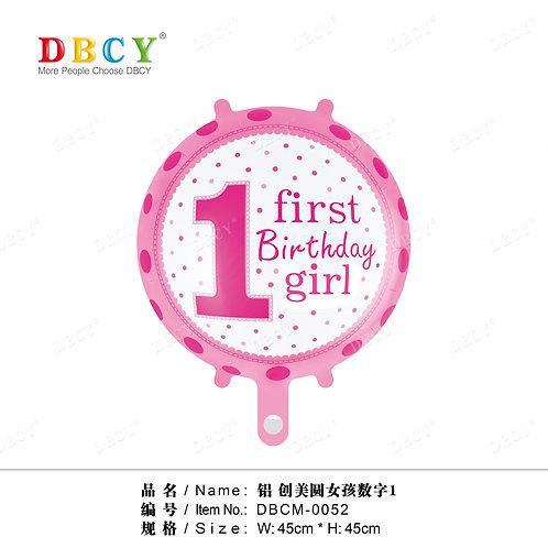 """""""1 urodziny dziewczynki"""" (48 cm.)"""