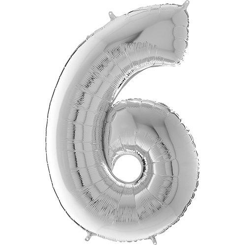 """Cyferka """"6"""" srebrna"""