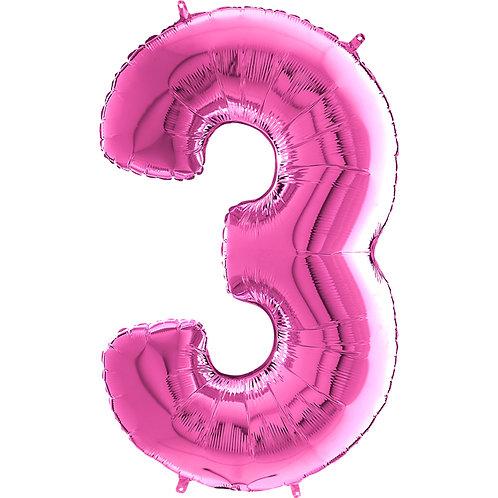"Cyferka ""3"" różowa"