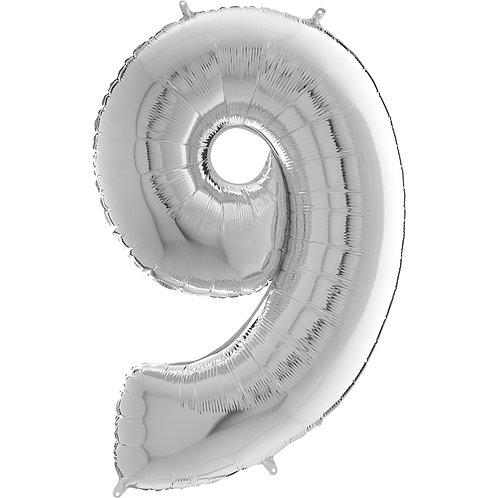 """Cyferka """"9"""" srebrna"""