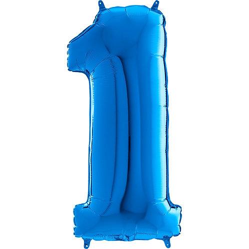 "Cyferka ""1"" niebieska"