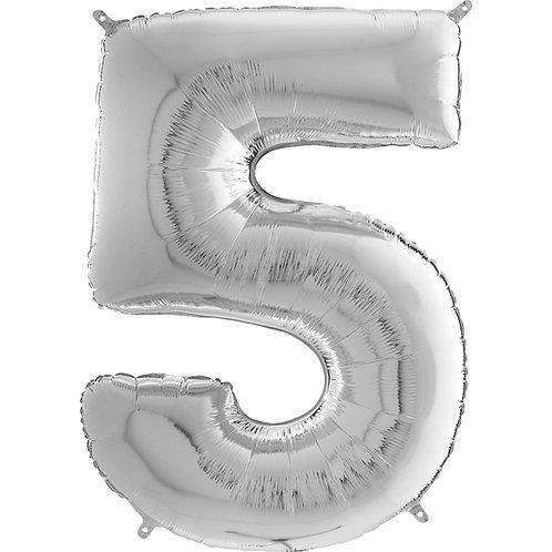 """Cyferka """"5"""" srebrna"""