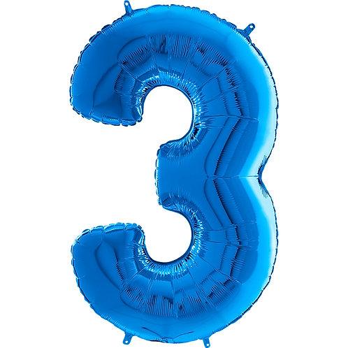 """Cyferka """"3"""" niebieski"""