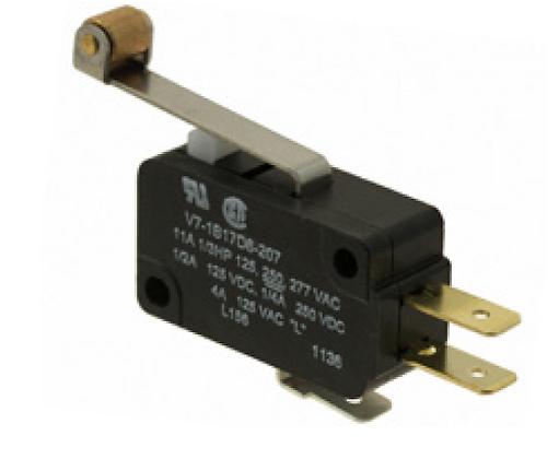 Microinterruptor, 277 Vca 15 A, palanca estándar con rodillo