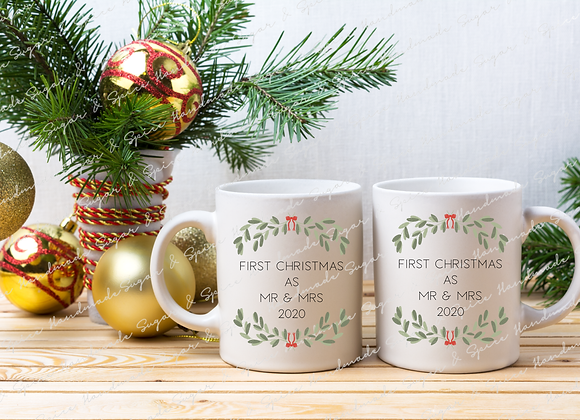 First Christmas as Mr & Mrs Mugs - Wreath Design