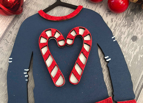 Candy Cane Christmas Jumper Decoration