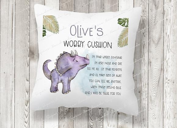 Personalised Purple Dinosaur Worry Cushion