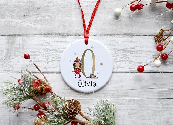 Personalised Elf Initial Christmas Decoration
